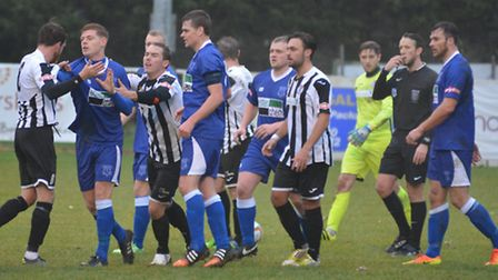 Tempers flare during St Ives Town's clash with Leek Town in the FA Trophy. Picture: HELEN DRAKE