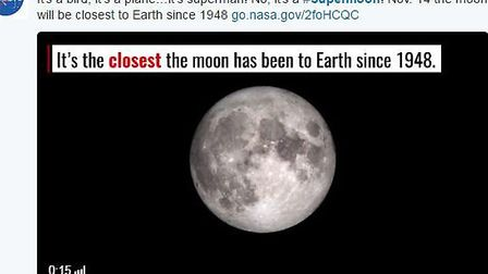 On November 14, the moon will be closest to Earth since 1948. Photo courtesy:Twitter/@NASA