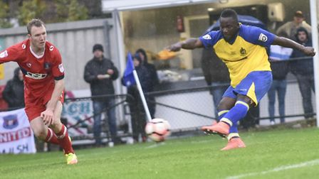 Junior Morias gets his second against Carlisle to make it 2-2. Picture: BOB WALKLEY