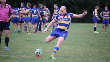 Nick Woolley converted two tries and added a penalty as St Albans drew with Kilburn Cosmos. Picture:
