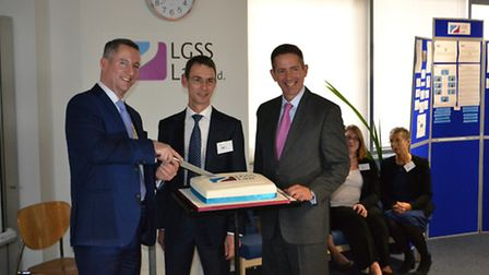 Cllr Kindersley, chairman of Cambridgeshire County Council, Quentin Baker, executive director of LGS