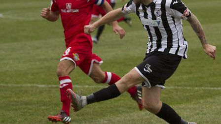 Josh Dawkin returns from suspension for St Ives Town tonight. Picture: LOUISE THOMPSON