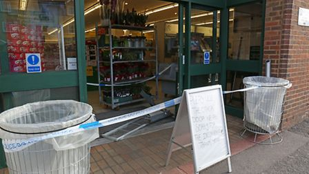 The front entrance at Morrisons this morning after thieves used a red truck to ram raid the cash mac