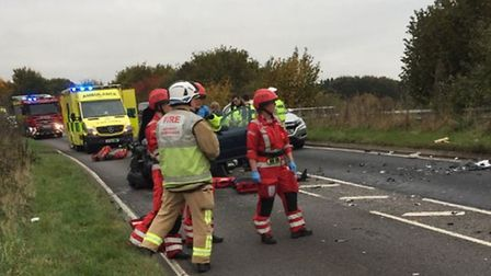 Emergency services attended the collision in Redbourn on October 29. Photo courtesy of Twitter/SCEss