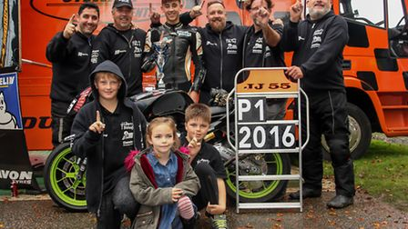 Jack Scott celebrates with his pit crew and supporters. Picture: COLIN PORT IMAGES