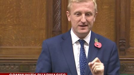 Hertsmere MP Oliver Dowden speaking during a recent parliamentary debate on community pharmacies