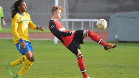 Phil Smeaton, seen in action for Codicote last season, suffered a displaced ankle. Picture: KEVIN LI
