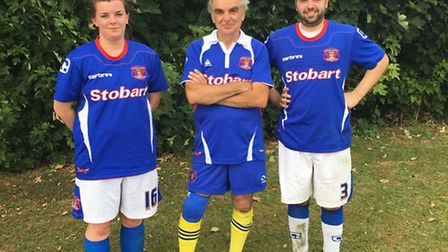 Ian Jardine with former St Albans City Youth players, daughter Jane and son Neil