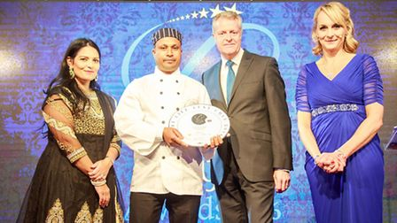 Ansar Miah (second from left) with Celebrity MasterChef finalist, Louise Minchin (right).