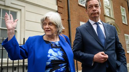 Ann Widdecombe and Nigel Farage pose ahead of the European Elections. (Photo by Leon Neal/Getty Ima
