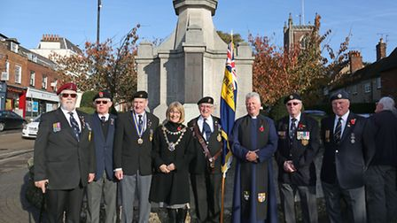 Members of the Royal British Legion with the Mayor of St Albans Cllr Francis Leonard and vicar of St