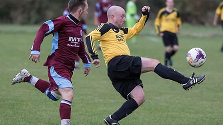 Lee Ashton was one of the Somersham goalscorers. Picture: TERRY BOWEN