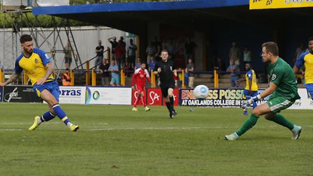 Louie Theophanous slots home his second goal in the 3-1 win against Whitehawk in August. Picture: LE