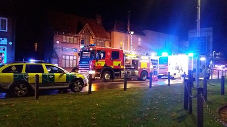 Emergency services were on the scene in Southdown Road, Harpenden, after a crash near the Coop on Th