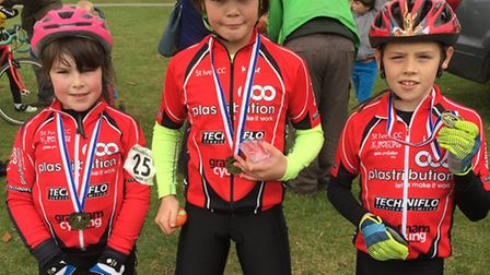 From the left, Cora Wood, Orla Kenna and Liam Conway, all picked up medals as St Ives CC hosted the