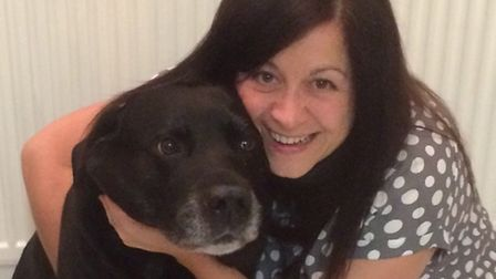 Suzan Moule and Woody the dog