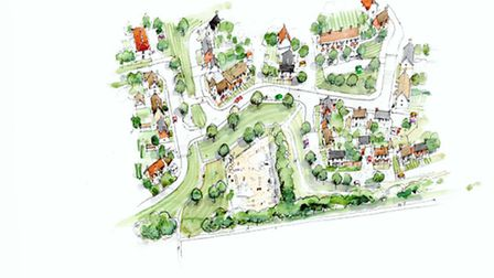 An artists impression of Bloor Homes proposed development in Papworth Everard.