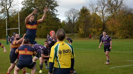 Tabard's Dan Calnan jumps in the line-out against Belsize Park