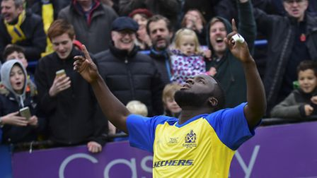 Junior Morias takes the applause of the crowd. Picture: BOB WALKLEY