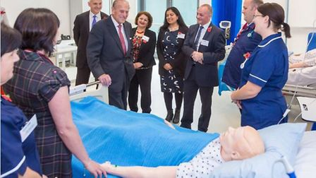 The Duke of Edinburgh tours the facilities of the University of Hertfordshire's new Science building