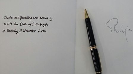 The Duke of Edinburgh's signature on a book marking the opening of the University of Hertfordshire's