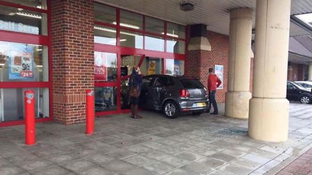 A car drove into the Staples store in Huntingdon earlier on today (Novemebr 4).
