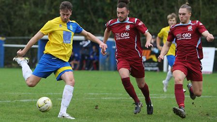 Charley Humberstone scores Harpenden's second goal against Chesham United Reserves. Picture: KARYN H