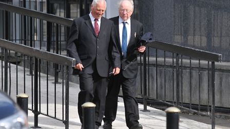Steven Parkin (left) leaving St Albans Magistrates court in July with his solicitor before taking hi