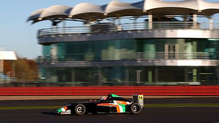Alex Jones in front of the BRDC clubhouse during his F4 Silverstone test. Picture: JAKOB EBREY PHOTO