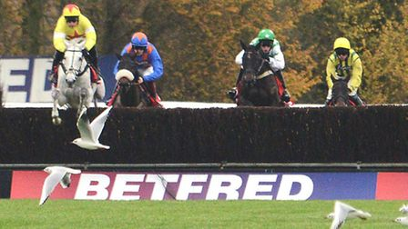 The runners clear a fence during the 2015 staging of the Betfred Peterborough Chase.