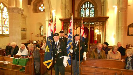 Standard bearers at the start of the ceremony