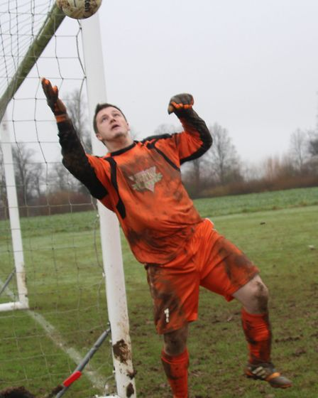 Facelad keeper Dave French made many fine saves against Skew Bridge Res