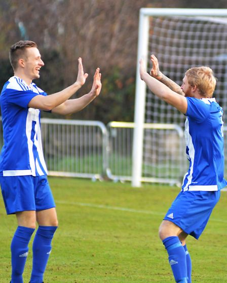Craig Smith (right) celebrates another goal in Eynesbury Rovers' success against Oadby.