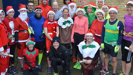 The runners who took part in Hunts AC's Christmas Cracker race around St Ives.