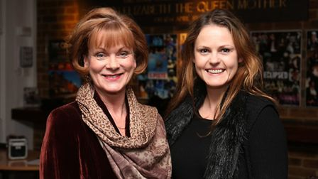 James Bond, Outnumbered and Downton Abbey actress Samantha Bond with producer from seahorse films Ka