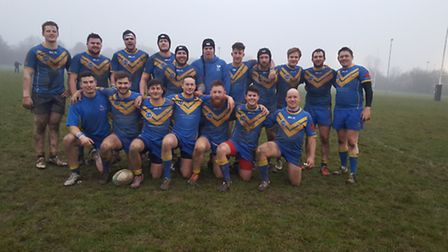 Verulamians Rugby Club first team after beating Royston in Herts Middlesex One