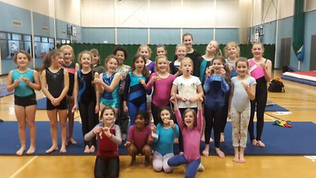 Gymnasts jumped for Pudsey.