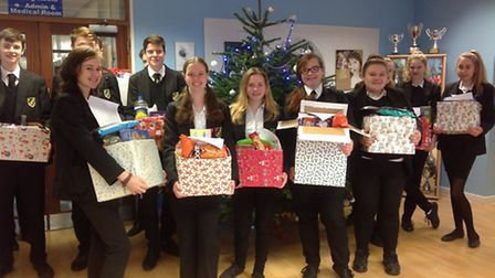 Meridian students have worked together to create Christmas hampers for famlies visiting the Royston
