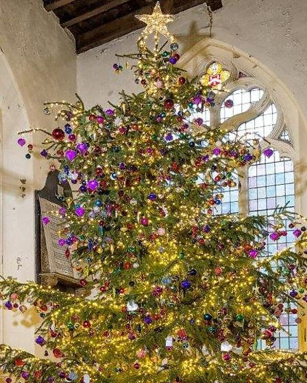 The Christmas tree at Royston's parish church. Picture: Keith Truman