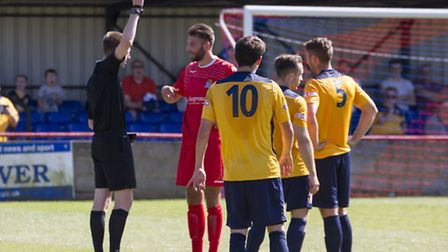 St Neots Town captain Tom Ward is sent off during their defeat against Slough Town. Picture: CLAIRE