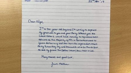 Nigel Farage claims he received this letter from a 10-year-old supporter. Photograph: Twitter.