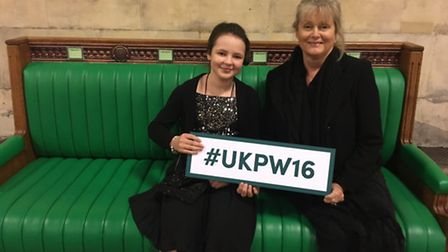 Gabriella and Anne with #UKPW16 sign for UK Parliament Week 2016.