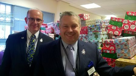 Police and Crime Commissioner, Jason Ablewhite, with the Christmas boxes.