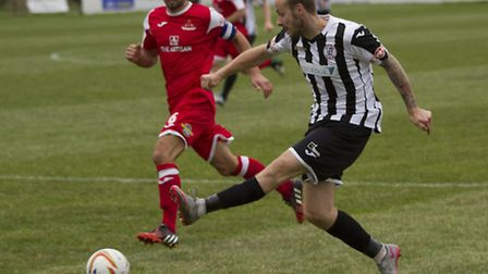 Josh Dawkin hit the opening goal as St Ives Town beat Redditch. Picture: LOUISE THOMPSON