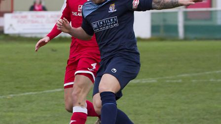 Declan Rogers was one of three St Neots Town players to be denied by a goal-line clearance at Dunsta