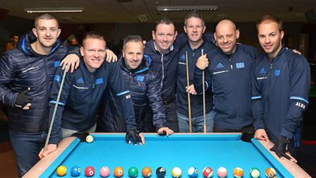Team Europe with The Saint Bar owner Kevin Moyles before the Mosconi Cup. (L-R) Jayson Shaw, Niels F