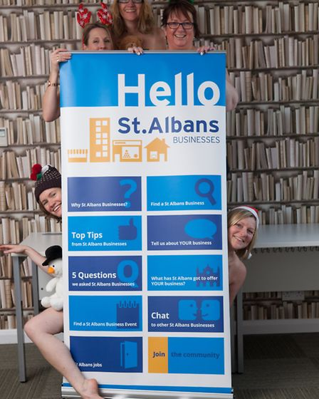 St Albans Businesses naked Christmas card - SAB team