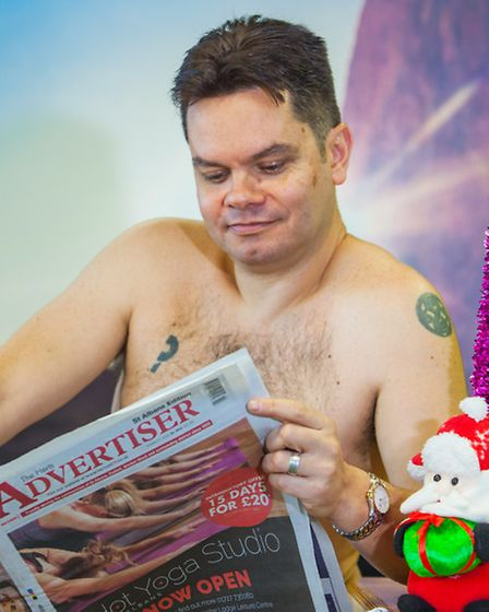 St Albans Businesses naked Christmas card - Matt Adams from the Herts Ad