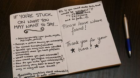 Art student and Starbucks worker Maria Finch left this book in Starbucks as part of her art project.