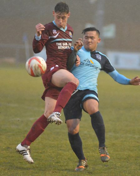 Christian Le in action for Godmanchester Rovers in their defeat to Kirkley & Pakefield.